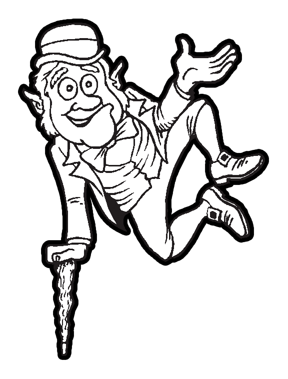 leprechaun jumping for good luck of the irish coloring book printable for st patricks day