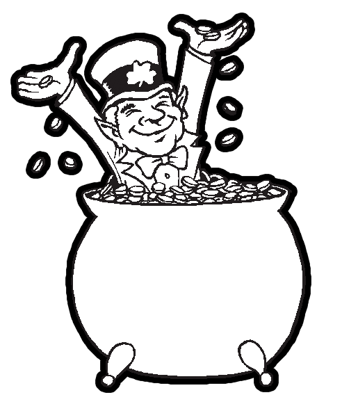 image relating to St Patrick's Day Coloring Pages Printable known as Leprechaun inside a Large Pot of Gol for Saint Patricks Working day