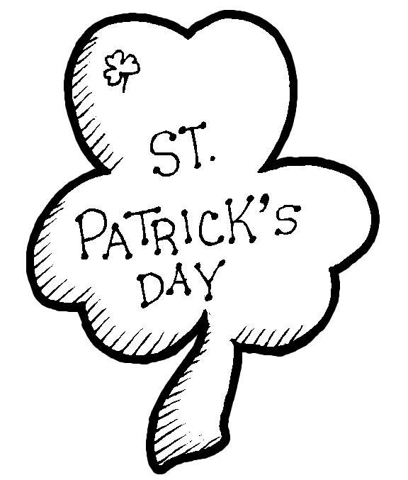 Happy St Patrick's Day Coloring Page - inside of shamrock #2. title=
