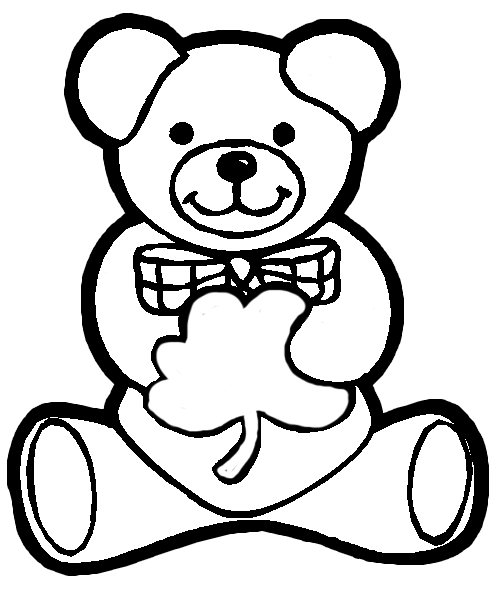 st patricks day shamrock coloring pages | Irish Teddy Bear Holding Shamrock for Saint Patricks Day ...