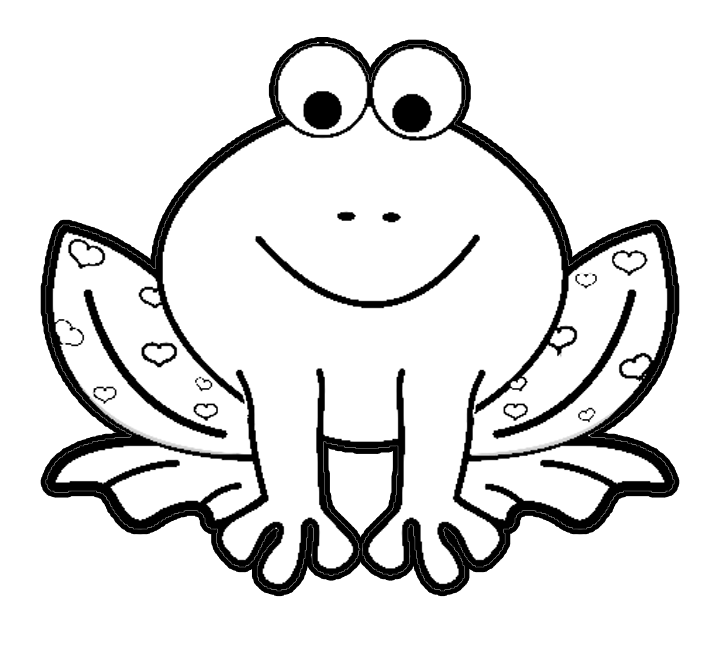 Valentines Day Cartoon Frog With Hearts Coloring Page Printout Animals Coloring Pages