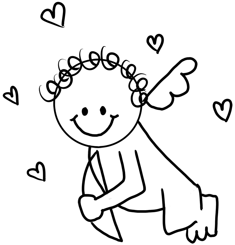 Baby Cupid With Hearts On Valentines Day Coloring Book Page