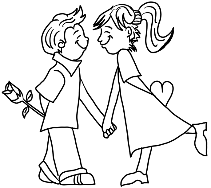 Boy and Girl in Love with Rose and Heart Valentines Day Coloring ...