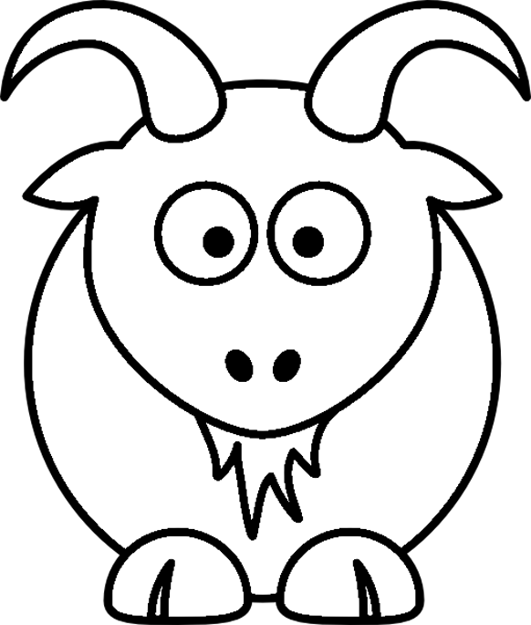 Cartoon Goat Farm Animal Coloring Page Printout