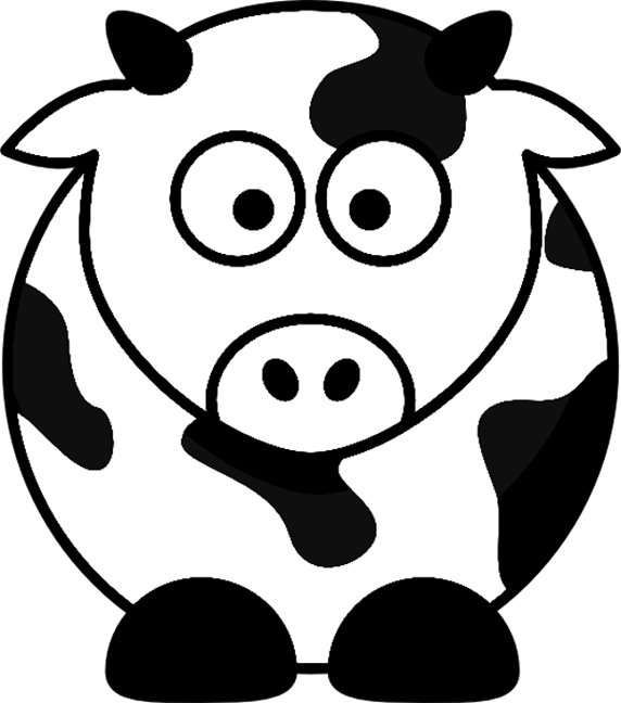 cartoon cow farm animal coloring page printout - Coloring Pages Cartoon Animals