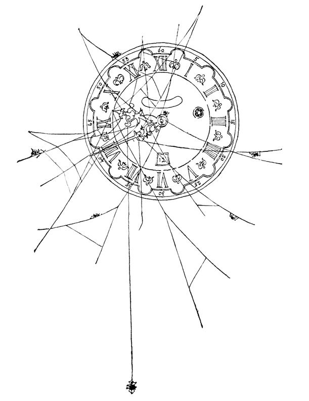 Spiders Making Spider Webs On Grandfather Clock Coloring Page
