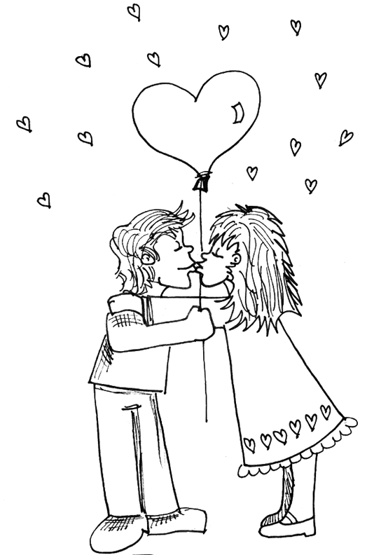 Boy and girl kissing under heart balloon for valentines day coloring book page