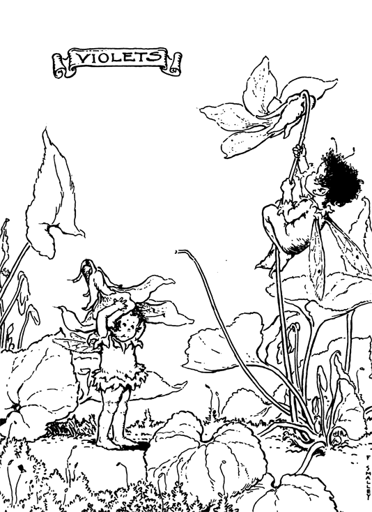 Easter Bonnets for the Fairies Using Violets Coloring Pages « Easter ...