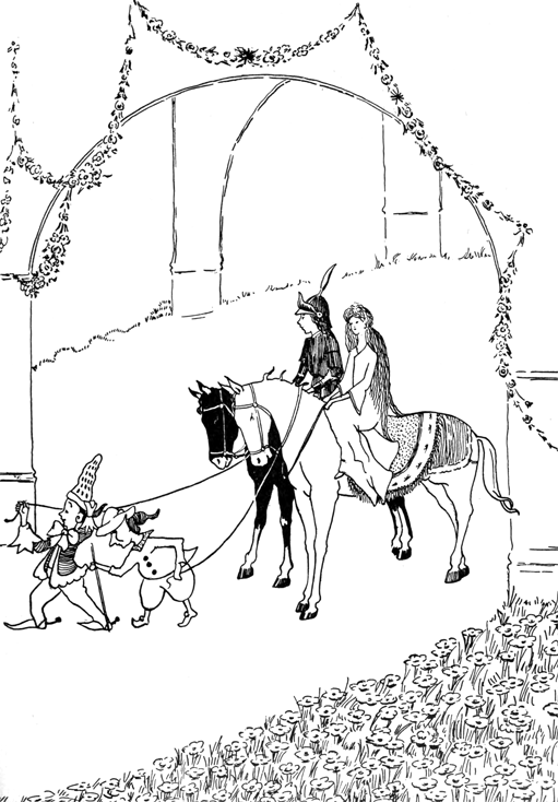 Elves Pulling Horses Carrying Prince And Princess Out Of Castle Coloring Page