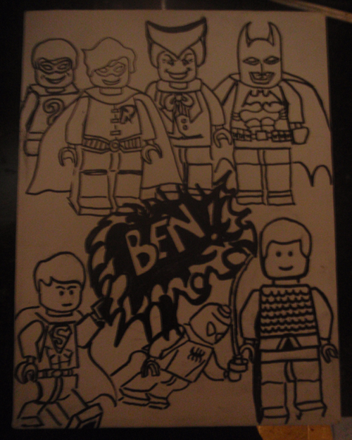 Ben's Superhero Lego Minifigures Drawing for Painted Backpack
