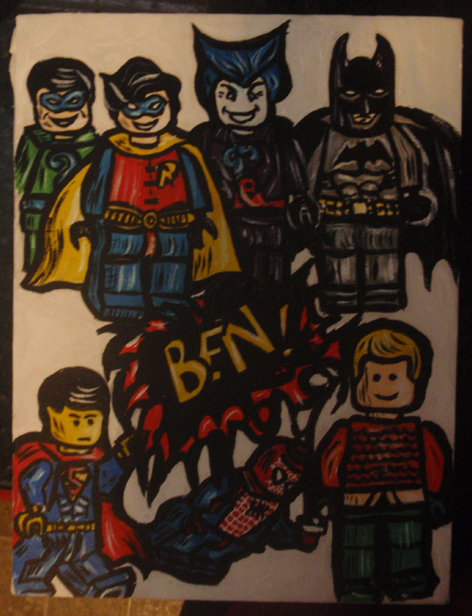 Lego Superheroes Minifigures Painting for Knapsack