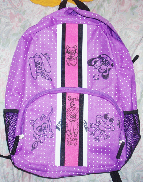 Draw with Permanent Sharpie Markers on Your School Book Bags