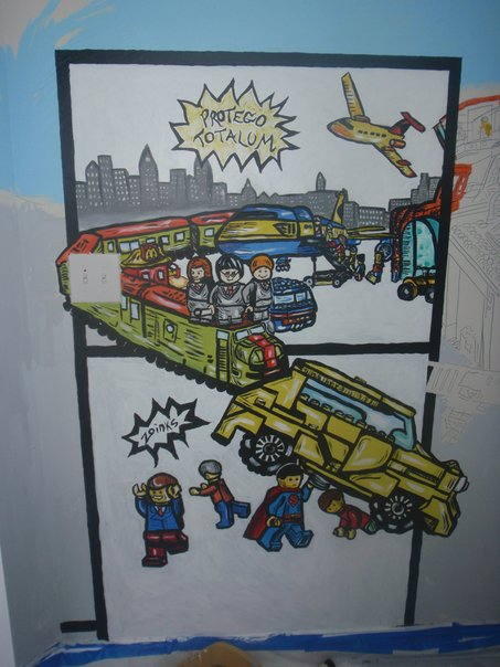 Lego City Mural Comic Strip Styled Kids Mural