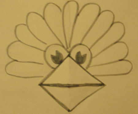 Step 9 Thanksgiving Turkey Pop Up Card Making Craft - Turkeys Beak Opens and Closes