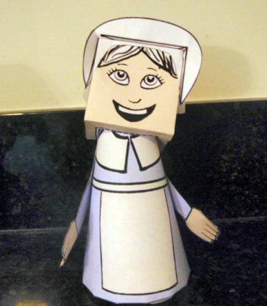 Free Thanksgiving Pilgrim Girl Paper Model Toys Printouts Paper Crafts