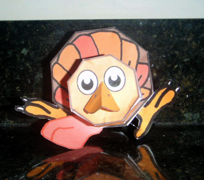 Thanksgiving Turkey Crafts : How to Make Printable Paper Model Toy Turkeys for Kids