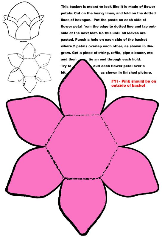 Make easter basket with flower petals paper folding craft - Crafts with flower petals ...