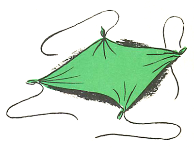 Tie a piece of string to each of the 4 corners of the napkin.