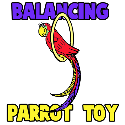 How to Make a Balancing on Your Finger Paper Parrot on a Perch Toy Craft for Kids