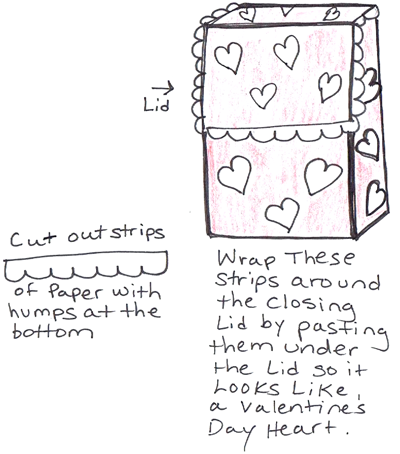 Step 5 : Making Valentines Day mail box backpack craft for kids