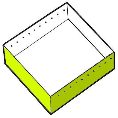 With a pencil and ruler, mark off 10 even spaces along one side of a medium-square box, about 1/2 inch down from the top. Do the same on the opposite side of the box.