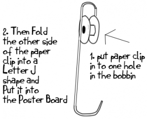 bobbin and paper clip zip line craft