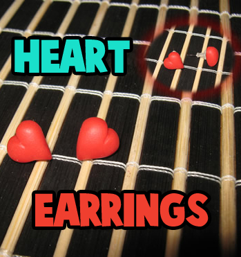 How to Make Pretty Earrings or Ear studs Hearts for Valentine's Day Craft