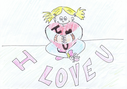 How to Make Valentines Day Pop Up Card of Girl Hugging Heart Crafts Idea for Kids