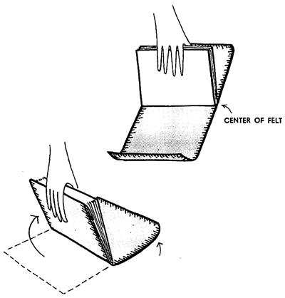 Put the spine of the appointment book in the middle of the piece of felt and slowly raise the felt