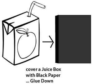 Cover a juice box with black paper