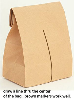 Draw a line thru the center of the bag... brown markers work well.
