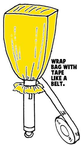 Wrap bag with tape like a belt