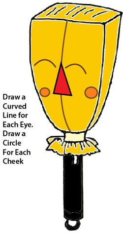Draw a curved line for each eye.  Draw a circle for each cheek.