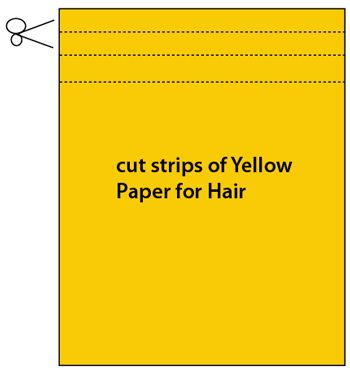 Cut strips of yellow paper for the hair