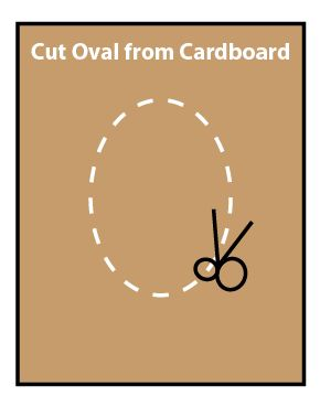 Cut an oval from cardboard