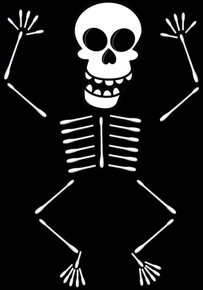 Q tip skeleton craft template