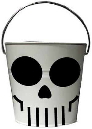 Finished skull trick or treat basket