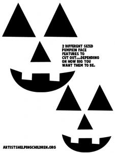 Printable template for pumpkin's facial features