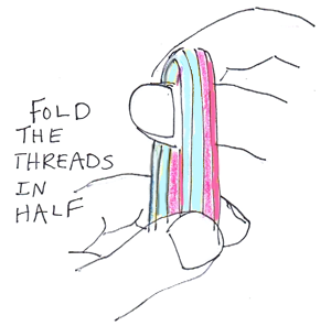 Now fold the threads in half