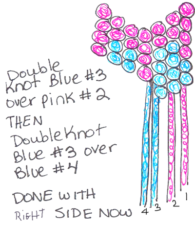 Double knot blue #3 over pink #2 and blue #4.