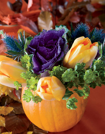 Pumpkin vase table decoration