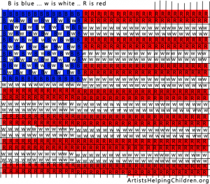 Printable color template for American Flag Craft