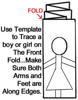 Trace a boy or girl on the front fold