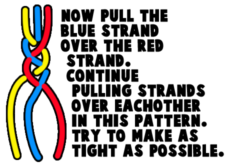Now pull the blue strand over the red strand.