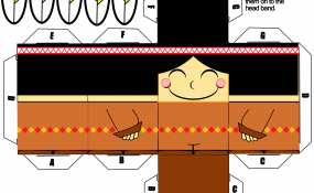 Printable template for Indian boy paper craft