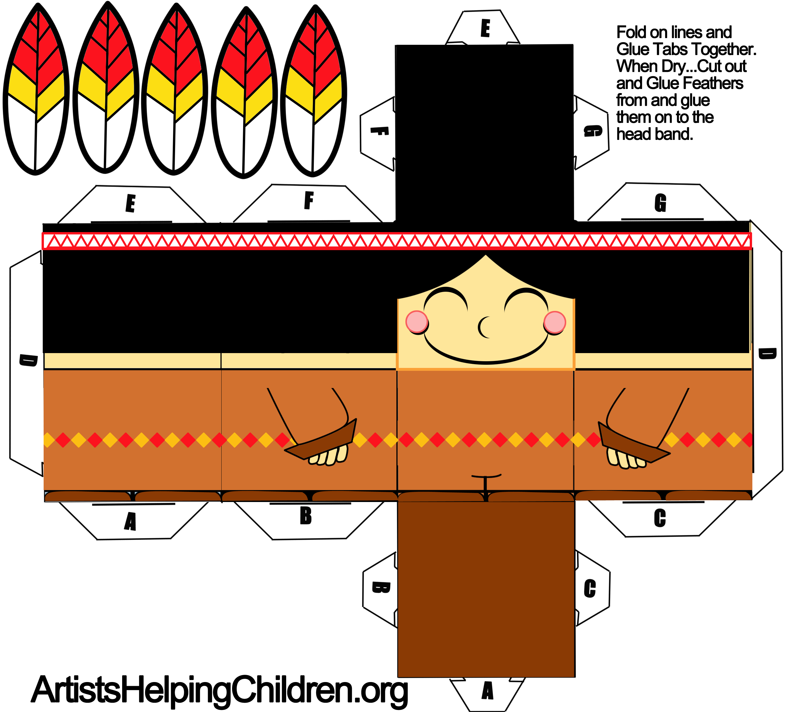 How to make an indian boy out of paper with printable foldable printable template for indian boy paper craft jeuxipadfo Images