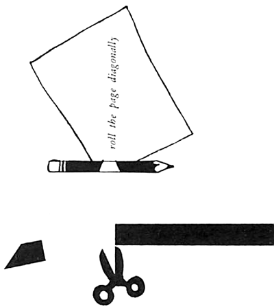 Cut off the two side margins and roll the page diagonally, using a pencil as a form to start the tube