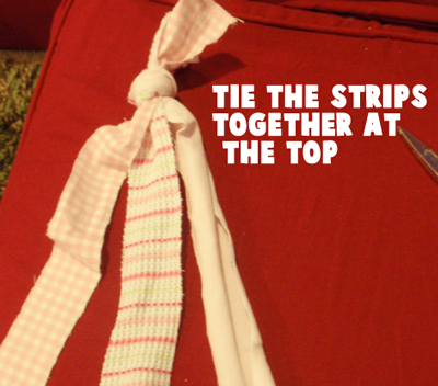 Tie the strips together at the top.