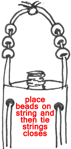 Place beads on string and then tie strings closed.