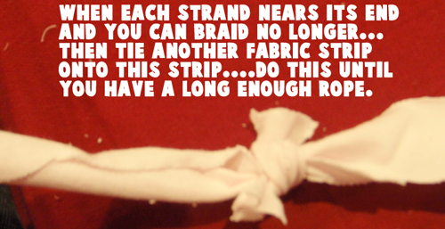 tie another fabric strip onto this strip